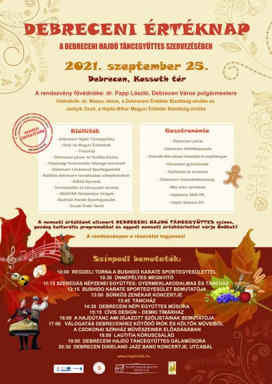 I. Debreceni Értéknap részletes programja 2021. szeptember 25. Debrecen, Kossuth tér